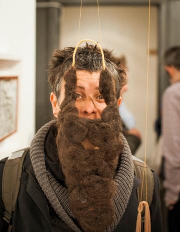 Luna Montenegro and Adrian Fisher, Hairetikos, 2013 Artists' hair, bronze wire, cotton underpants, nylon tights, cotton thread 47 x 21 x 60cm